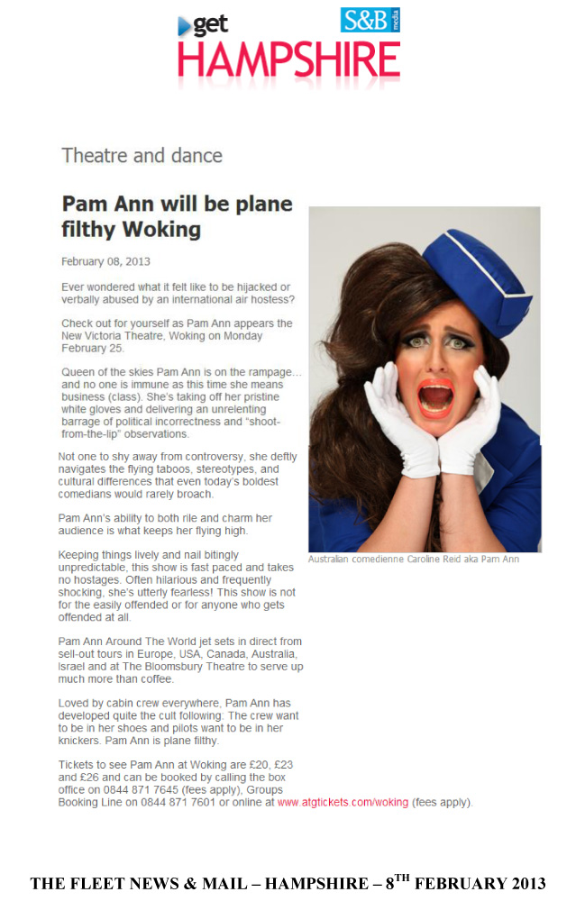 PAM ANN - THE FLEET NEWS &amp; MAIL - HAMPSHIRE - 8TH FEBRUARY 2013