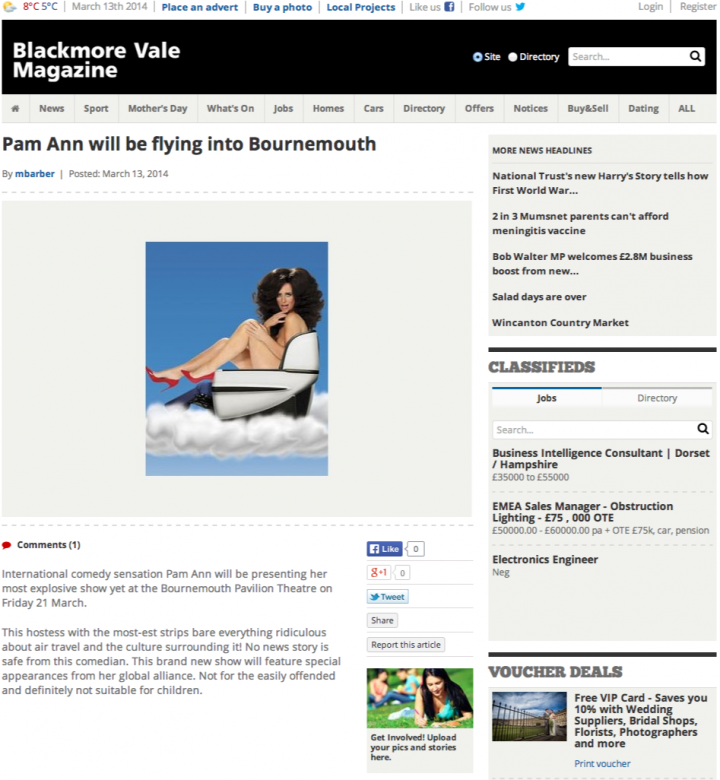 Pam Ann will be flying into Bournemouth   Blackmore Vale Magazine