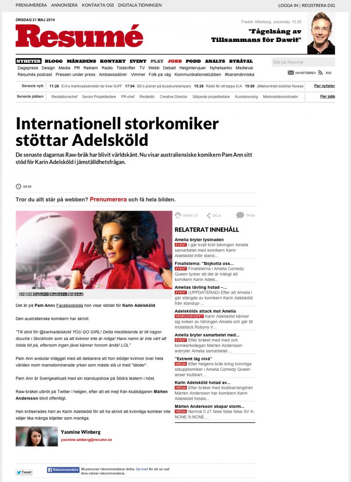 Resumé  Internationell storkomiker stöttar Adelsköld